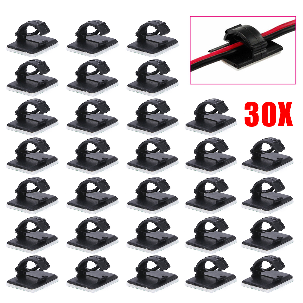 30pcs-self-adhesive-car-wire-clip-fixer-holder-cable-holder-rectangle-plastic-mount-clamp-network-office-cable