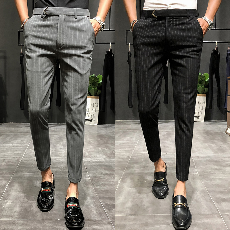 2019New style Fashion Male autumn stripe Business trousers/Men's High quality pure cotton Leisure suit pants clothing size 28-36