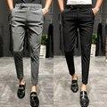 2019novo estilo de moda masculina outono listra negócios calças/masculino alta qualidade puro algodão lazer terno calças roupas tamanho 28-36