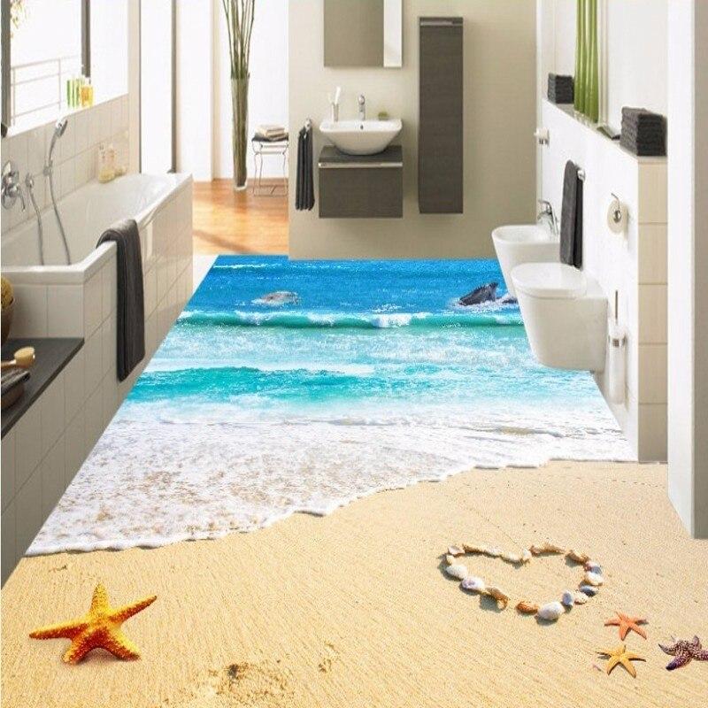 цена Free Shipping Beautiful sea waves spray starfish 3D floor painting waterproof wear non-slip lobby flooring wallpaper mural онлайн в 2017 году