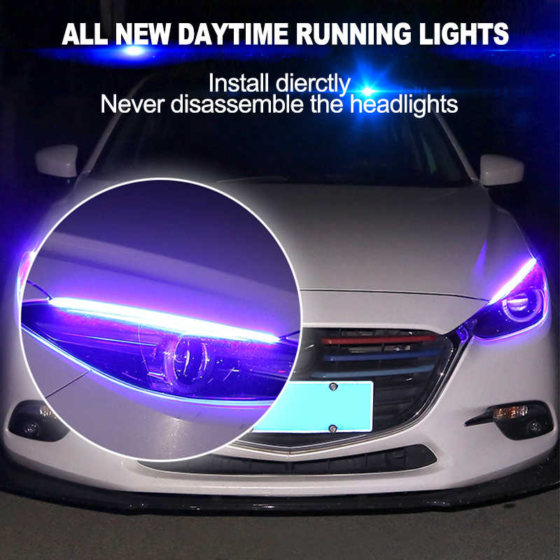 CNSUNNYLIGHT Waterproof Flexible LED Atmosphere DRL Strip 45CM For Car Daytime Running Light Sequential Amber Turn Signal Lamp