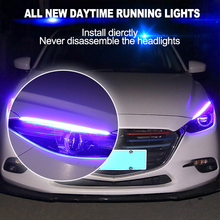CNSUNNYLIGHT водосветодио дный стойкий гибкий светодиодный Атмосфера DRL полоса 45 см для автомобиля дневного света ходовые огни Sequential Amber Поворотная сигнальная лампа