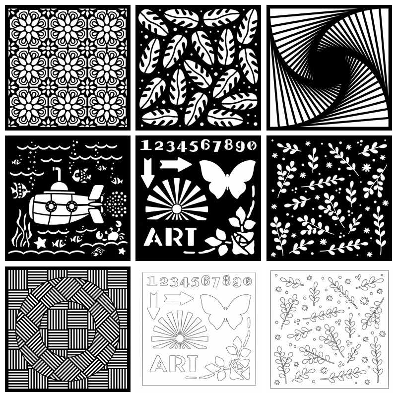 7 Types 6x6in Flower Plastic Stencil For DIY Scrapbooking Embossing Paper Card Decorative Handmade Craft Template Drawing Sheet