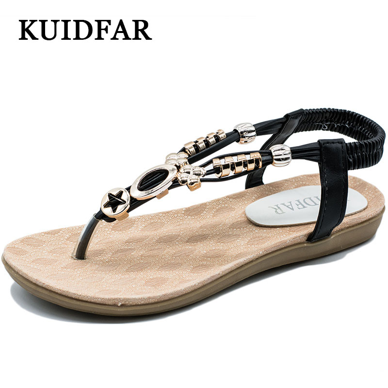 Shoes Woman KUIDFAR Free Shipping Women Sandals Gladiator Flip Flops Summer Female Slippers Bohemian Shoes Beige Black free shipping candy color women garden shoes breathable women beach shoes hsa21
