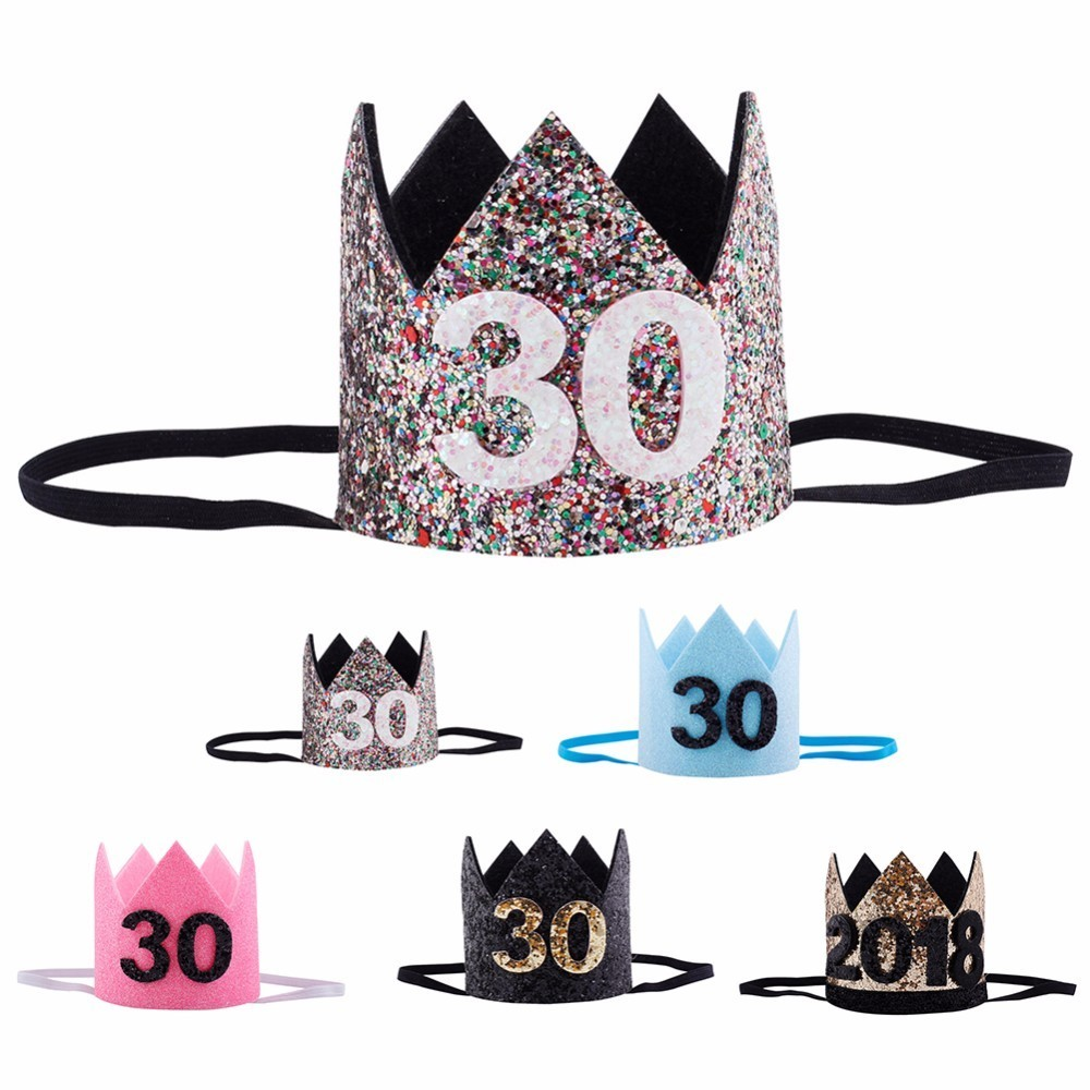 30th Birthday Hat Gold Black Pink Princess Crown Number Party Glitter Headband Accessories In Hats From Home Garden On