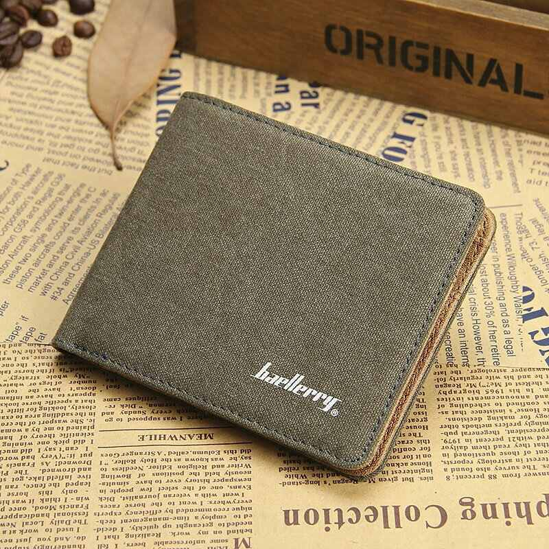 Baellerry Men Canvas Slim Wallet Male Small Short Purse Card Holder Money Bag Walet Portomonee