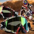 New Goggle Tinted UV Stripe Motorcycle Goggles Motocross Bike Cross Country Flexible Goggles #84030