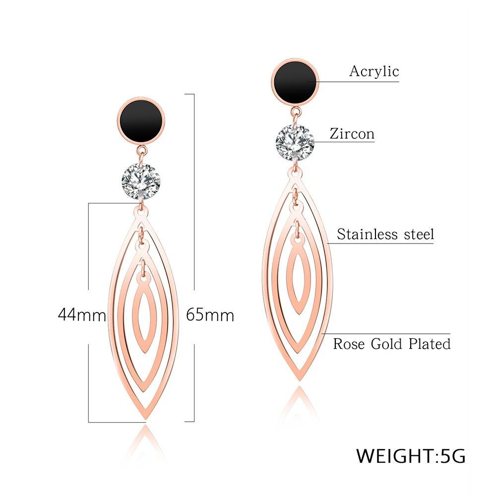 AENINE Chic AAA Cubic Zirconia Stud Earrigs For Women Titanium Steel Rose Gold Three-layer Olive Tassel Earrings Jewelry OGE458