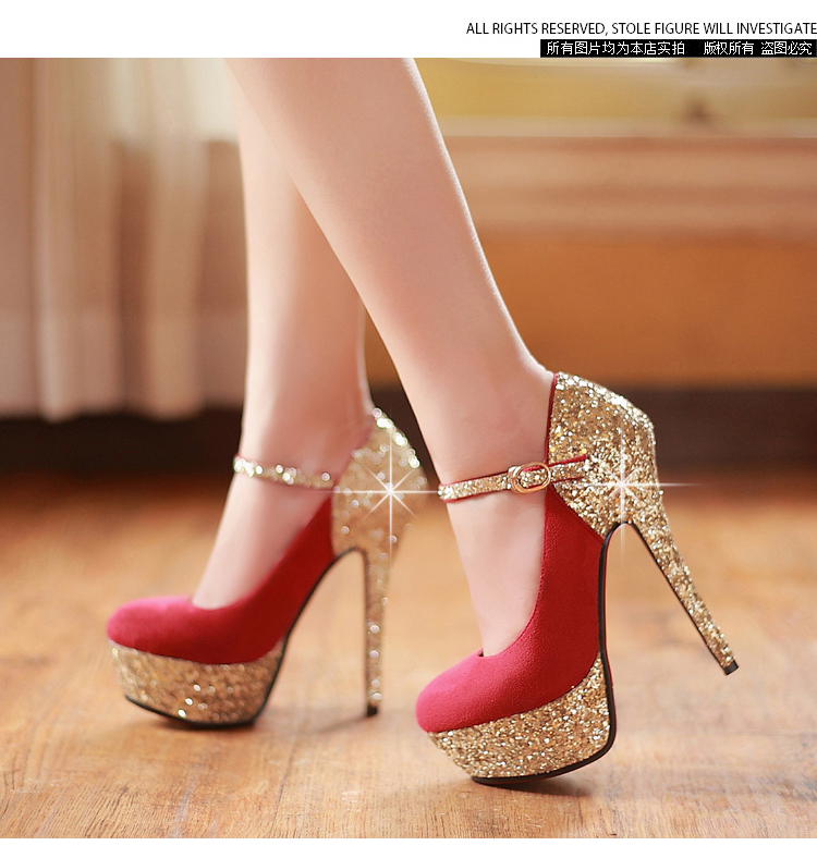 wedding shoes red women s wedding shoes bottom high heels platform gold 1130