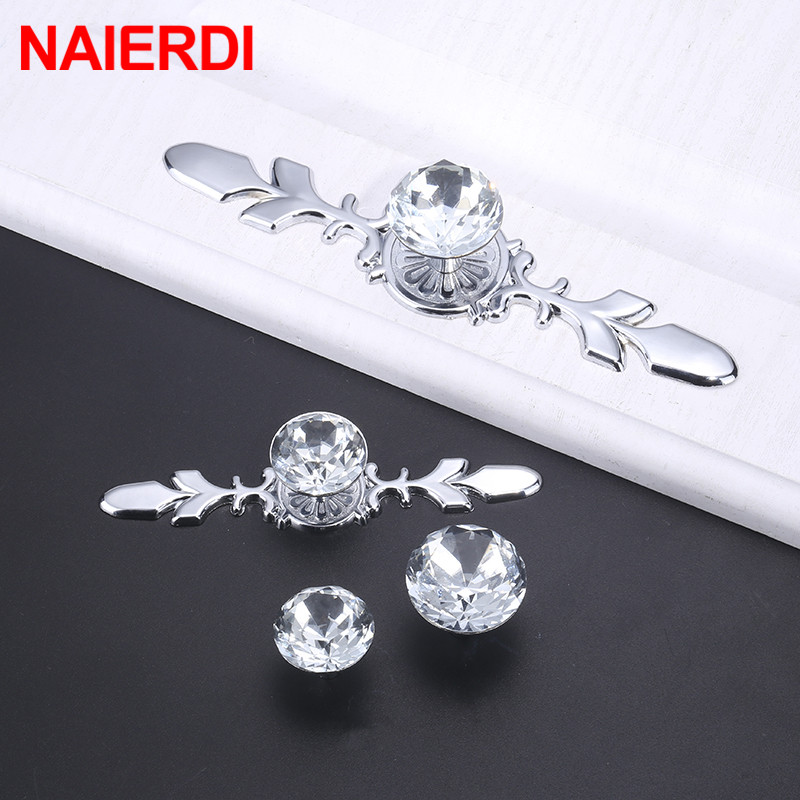 NAIERDI Luxury Diamond Crystal Handles Shoebox Cabinet