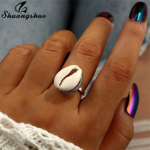 Shuangshuo Fashion Women Rings Natural Shell Ring Ocean Beach Seashell Swimming Ring Jewelry for Women Midi Finger Rings Boho(China)