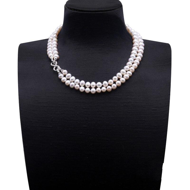 JYX 9.5-10mm collier de perles d'eau douce blanches avec usage Multiple
