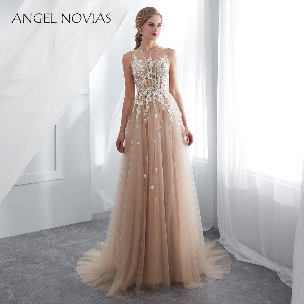 Angel Novias longues robes De mariée Boho Champagne 2018 robes De mariée robes De mariée