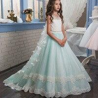 Nuevo champán puffy Encaje vestido de niña de flores para bodas mangas largas bola del Partido de la muchacha del desfile de la comunión del bebé del niño