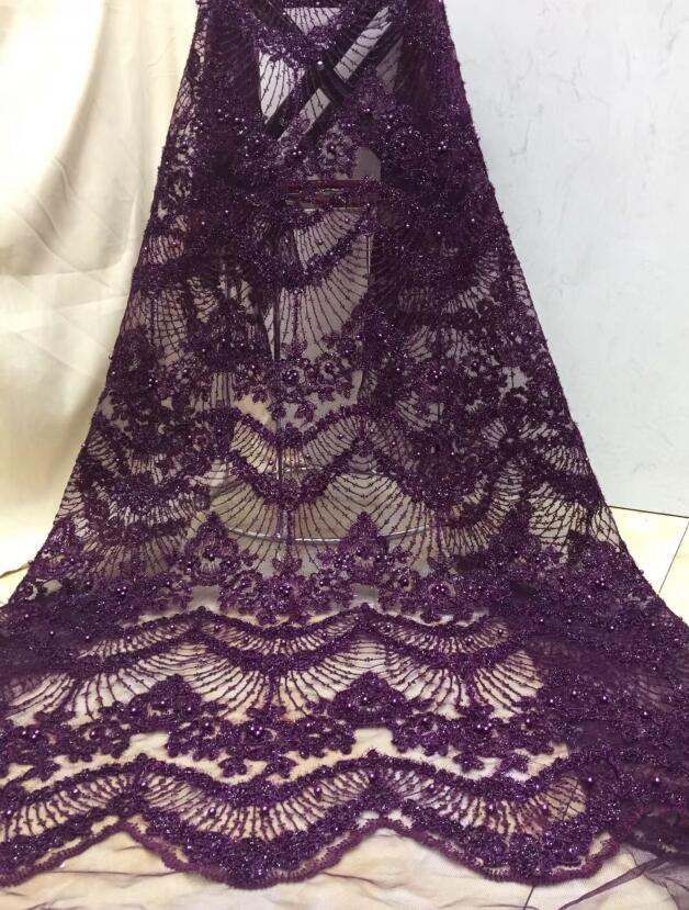 super quality french net fabric French tulle embroidery lace fabric JIANXI C 122506 with beads