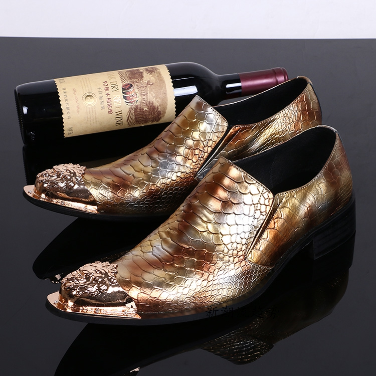 De Vestido Patrón Zapatos Los Hombre Hombres Calzado Para Oxford Metal Partido Italia Vaca Cuero Toe Serpiente Vestir fwvqtq