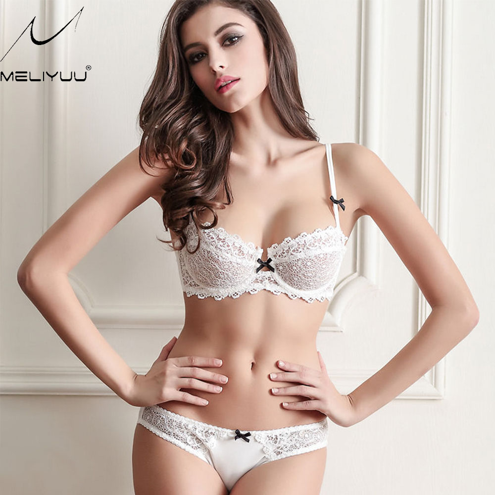Buy New Ultra-thin mesh lace Bralette sexy lingerie women gather bra sets Panty Underwear 30-40 AA B C D Cup