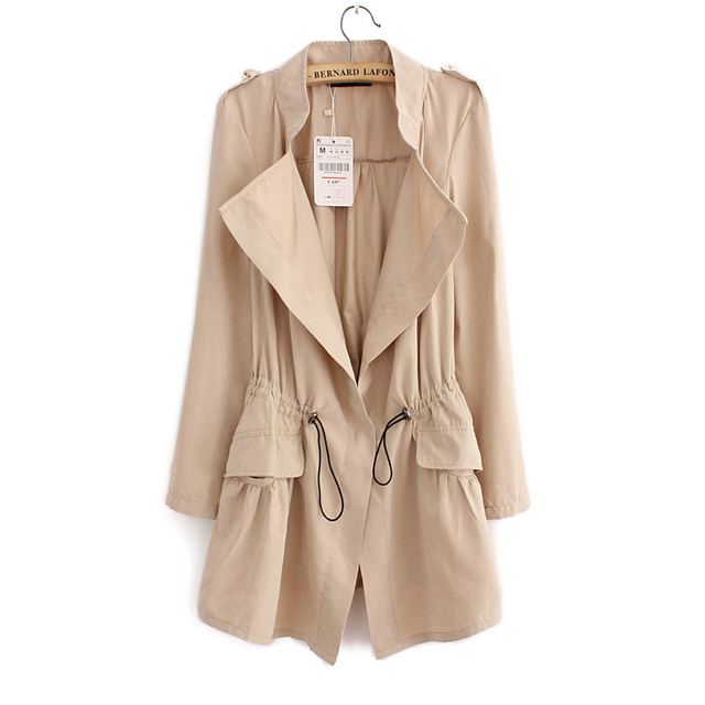2016 Women Cardigans Casual Spring Autumn Turn-down Collar Long Trench Ladies Pleated Pocket Design Outwear Coat D2013