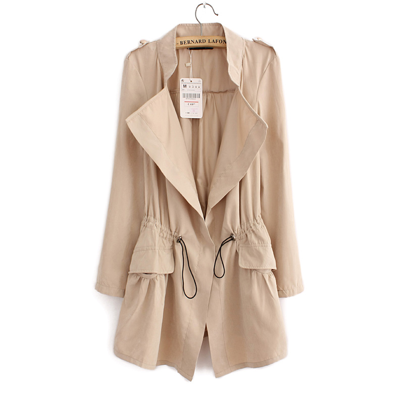 2019 Women Cardigans Casual Spring Autumn Turn-down Collar Long Trench Ladies Pleated Pocket Design Outwear Coat D2013