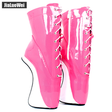 jialuowei Ballet Boots 18cm/7 High Wedges Heel Short Fetish Stallion Horse Hoof Sole fashion show Cross-tied Ankle boots