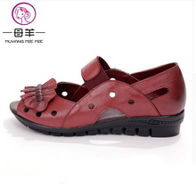 Fish Nose Flat Shoes and Women's Leather Soft Bottom Hollow Mother Sandals Low Summer Women Slippers Wedge Sandals Beach shoes