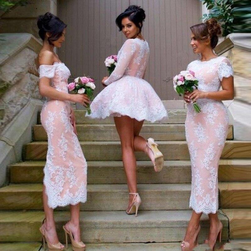 Elegant   Bridesmaid     Dresses   2019 Tea Length Wedding Party Gown Casamento Appliques Wedding Guest   Dress   vestidos dama de honor