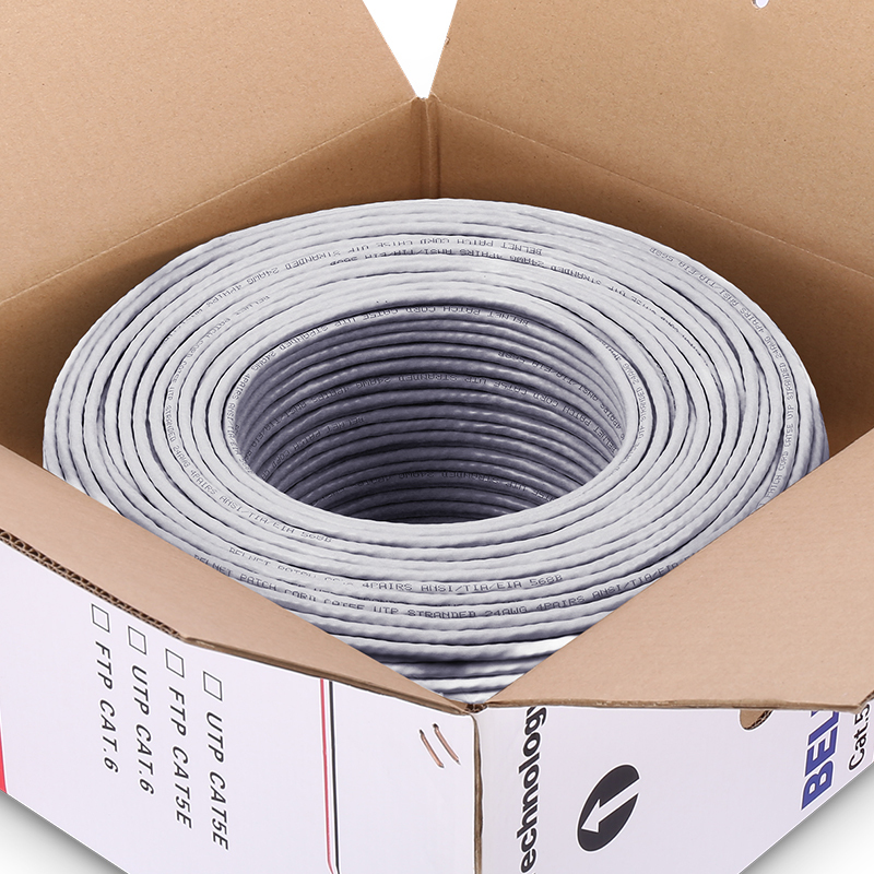 50m 100m Grey UTP CAT5e Cable OFC Copper Wire Box Cable Shaft RJ45 Network Twisted Pairs For Engineering 100Mbps Ethernet