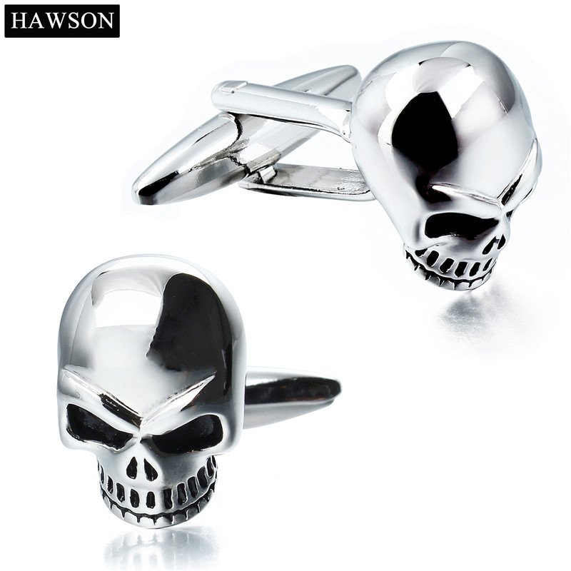 Personalized Skeleton Pattern Cufflinks for Mens New Designer Skull Cuff Male French Shirt Accessory Party Gift for Boys