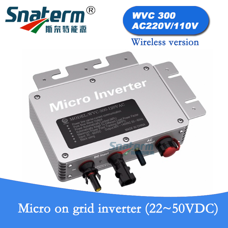 300W Micro on grid Solar PV power inverter with wireless communication 22 50VDC 110V 230VAC MPPT