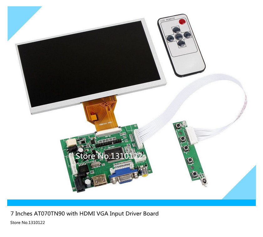 skylarpu 7''Inch Raspberry Pi LCD Display Screen TFT Monitor AT070TN90 with HDMI VGA Input Driver Board Controller Free shipping 9 inches for raspberry pi lcd display screen tft monitor at090tn12 with hdmi vga input driver board controller
