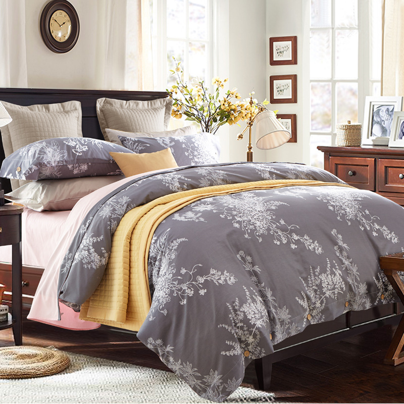 100  Egyptian cotton white leaf print 4PCS bedding sets 1 grey duvet cover 1. Compare Prices on Grey Bedding Sets Queen  Online Shopping Buy Low