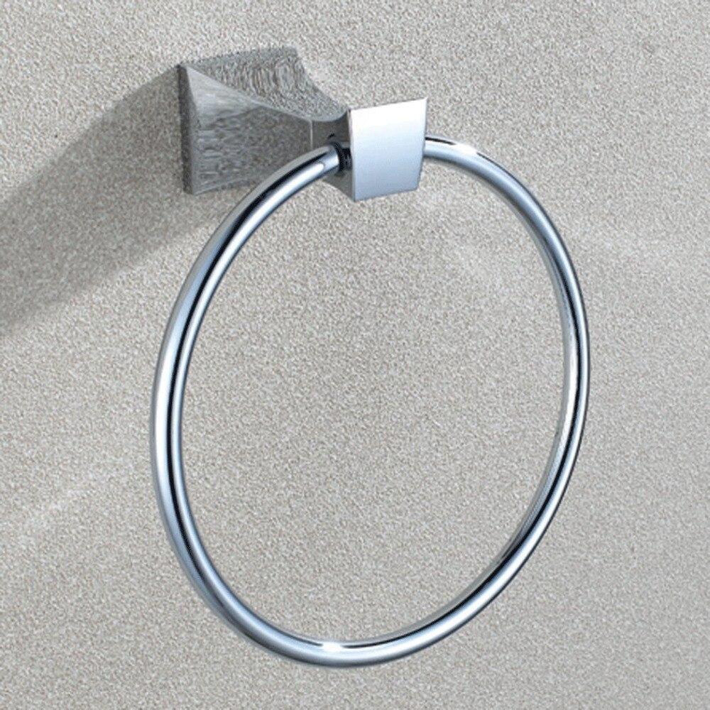 ФОТО Bathroom Lavatory Towel Ring with Solid Metal Base Wall Mount, Polished Chrome Bathroom pendant