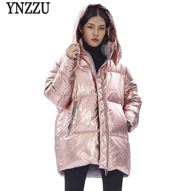 2018 New Winter Women's   Down   Jacket High Quality Bright Embroidery Duck   Down     Coat   Women Thick Warm Hooded Female Jacket AO694