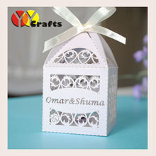 50pcs best sell wedding favor cake box party event supply baby shower souvenir candy box with engraved name logo