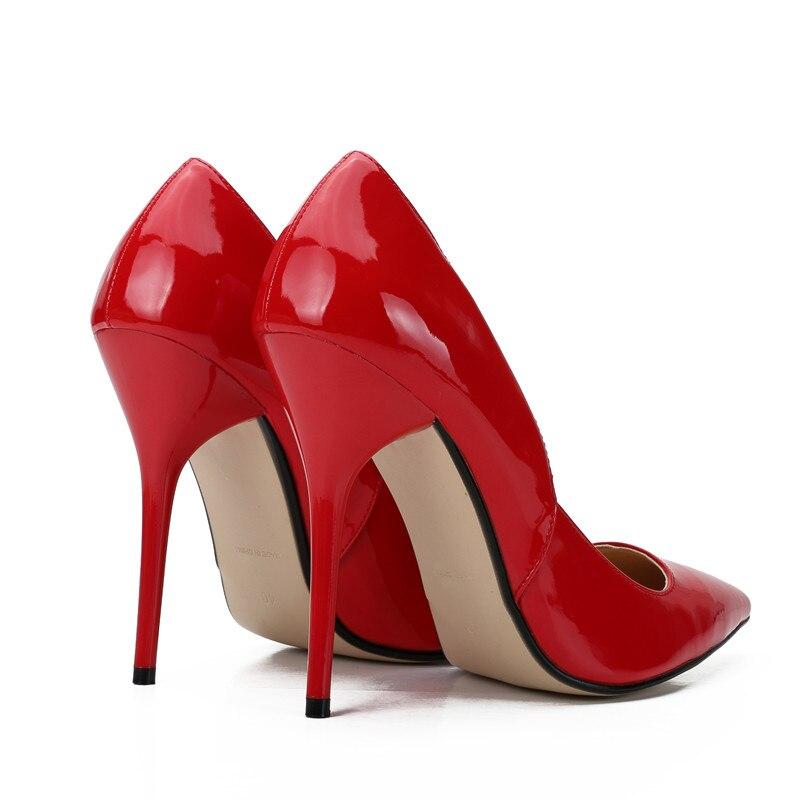 rojo De Fiesta Las Tamaño Tacones Tacón Gran Mujeres Bombas Rojo Christia Alto Delgados Zapatos Negro Cm 12 Bella Moda Punta Negro Mujer Iqat1wxp