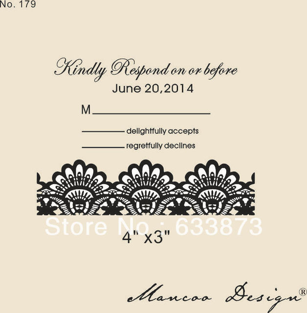 Custom Rubber Stamp 4 X3 Wedding Invitation Lace
