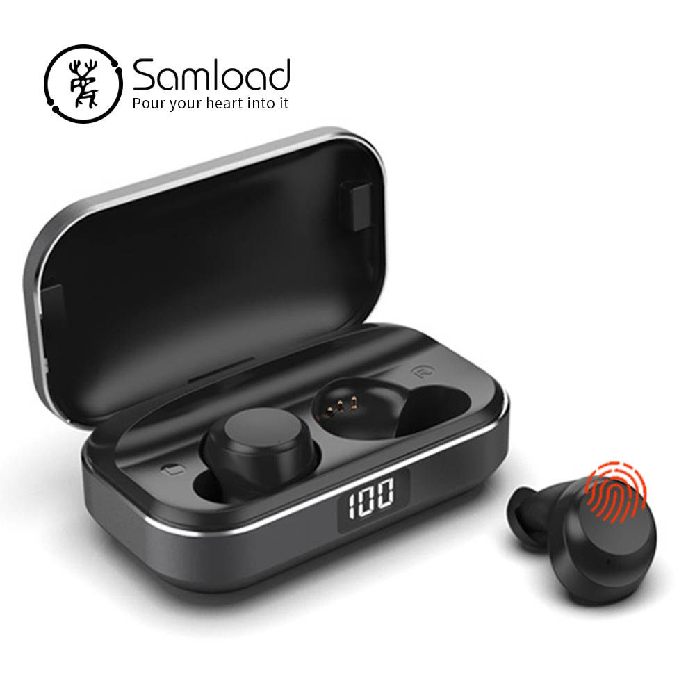 Samload Bluetooth 5.0 Earphone HIFI Sound Wireless Headphone Deep bass in ear Earbud with Metal Charging Box for ios Android