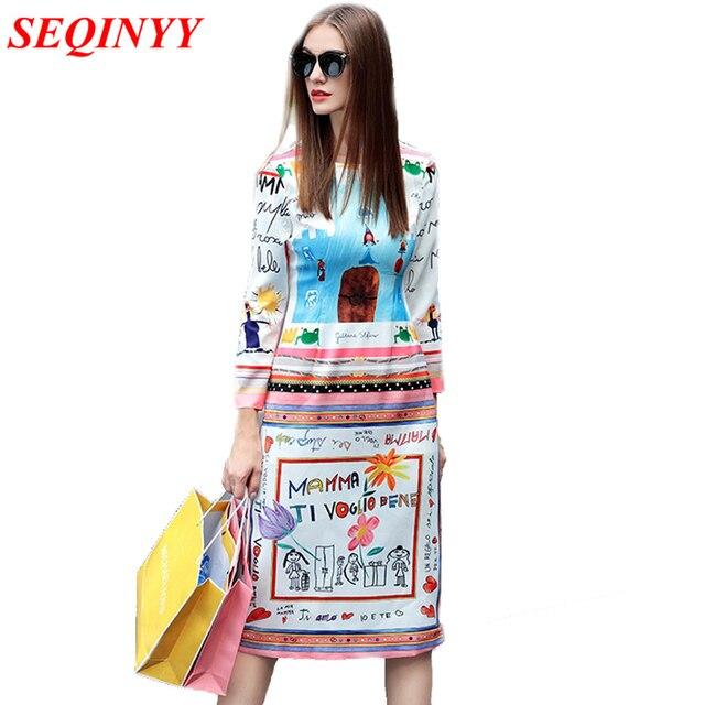 Women Dress 2017 Осень Ежедневные Национальный Стиль Полный Рукавом Длиной До Колен Прямо Цветок Print Dress