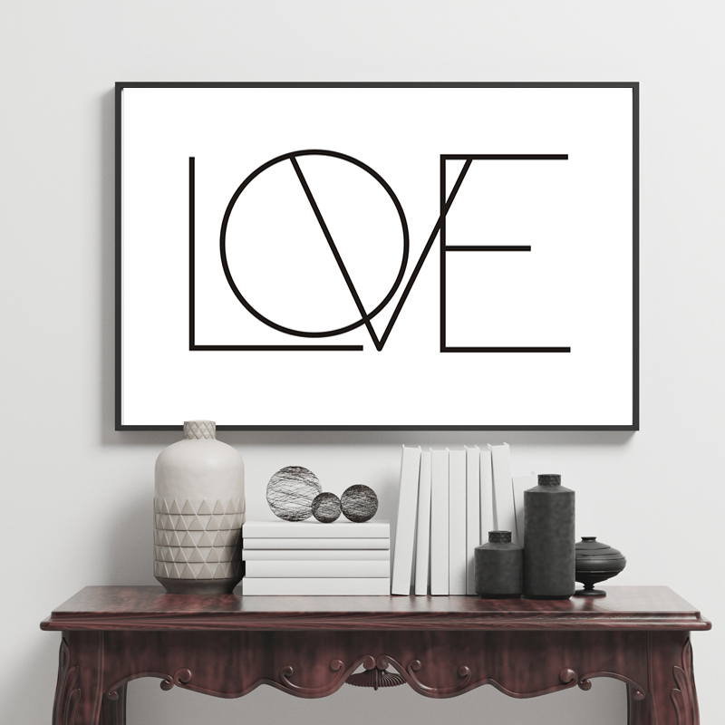 Us 3 49 50 Off Minimalist Love Canvas Painting Black And White Nursery Art Posters Prints Wall Picture For Kids Bedroom Wedding Home Decor In