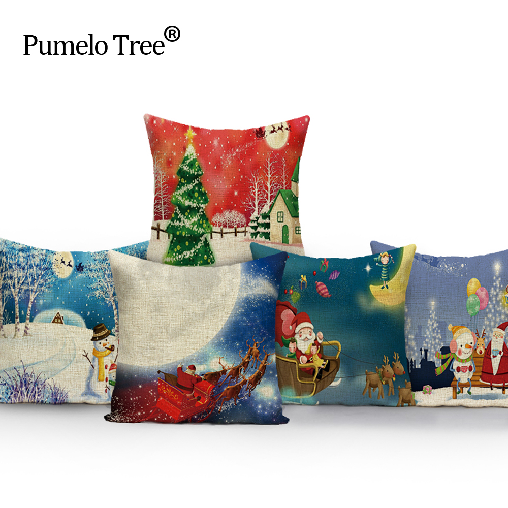 Canapea de perne de Crăciun Canapea Frumusețe de înaltă calitate 45x 45cm Carcasă de căprioară vintage cu căptușeală