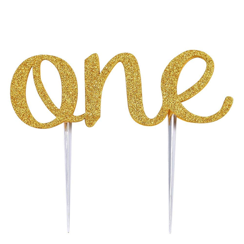 Happy 21st Birthday Table Flag Plastic Polyester Gold Base 27cm Tall