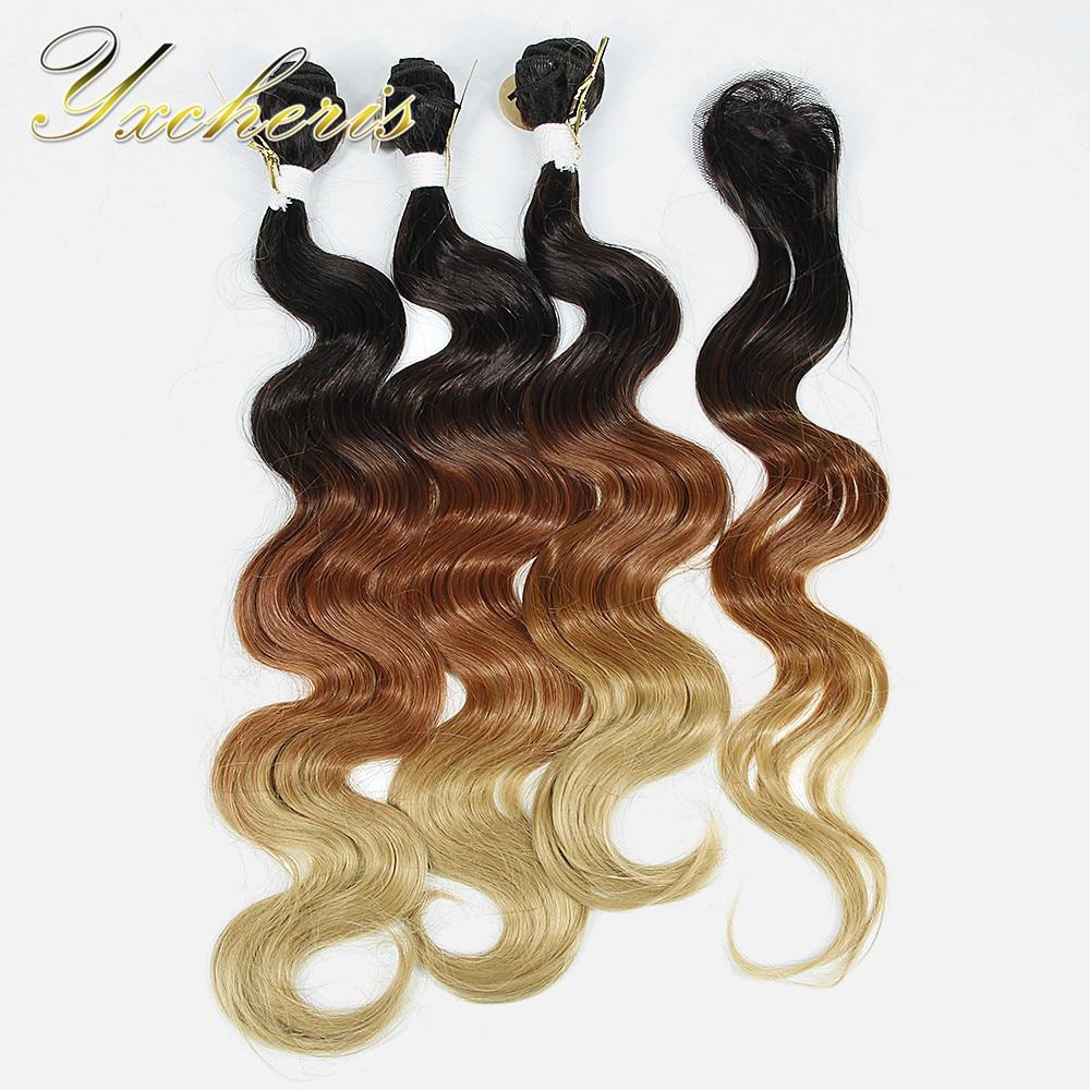 YXCHERISHAIR brasilianska kroppsvåg 3 buntar med - Syntetiskt hår - Foto 2