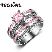 Vecalon Classic Wedding Band Ring Set for Women Pink stone AAAAA Zircon Cz 10KT White Gold Filled Female Engagement ring