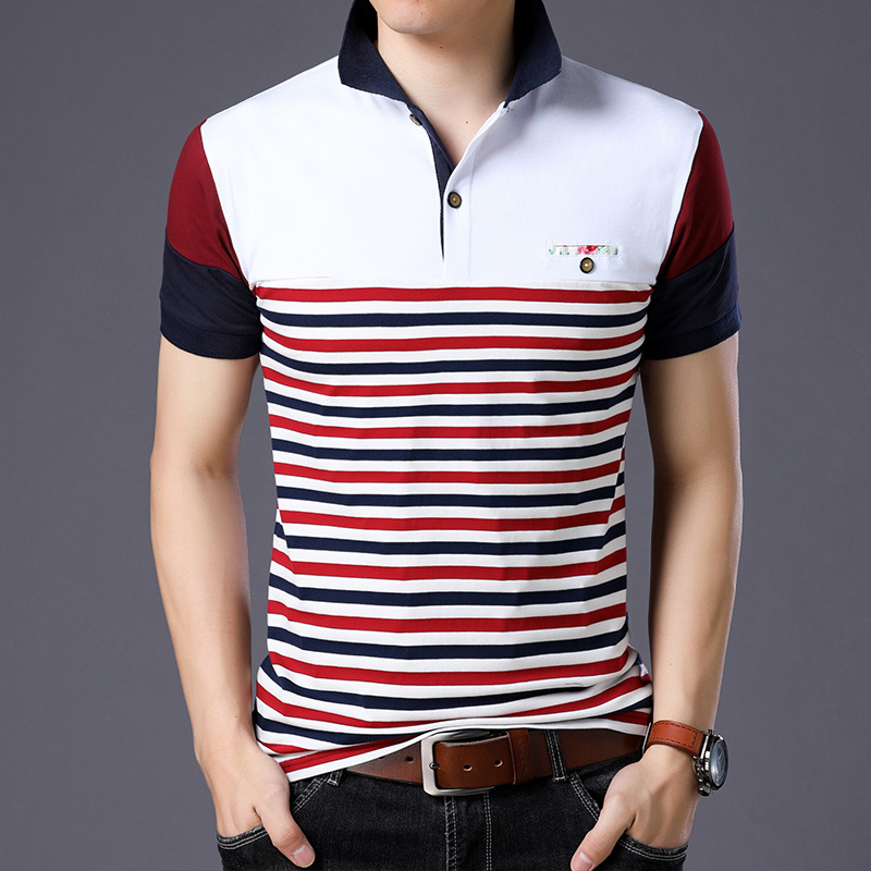 ARCSINX Summer   Polo   Shirt Men Striped Brand High Quality Men's   Polo   Short Sleeve Casual Fitness Mens   Polo   Shirts Big Size 5XL
