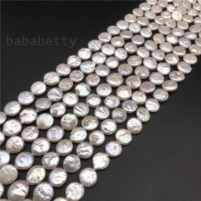 ขายส่ง DIY แท้ธรรมชาติสีขาว biwa reborn keshi pearl สร้อยคอลูกปัด 10-13 มม. 15 นิ้ว