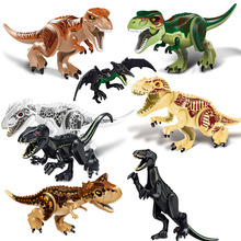 лучшая цена Jurassic World 2 Building Blocks Dinosaurs Figures Bricks Tyrannosaurus Rex Indominus Rex I-Rex Assemble Kids Toys