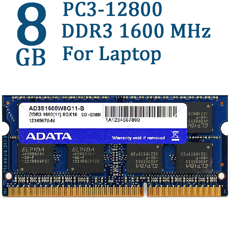 ADATA Mémoire Pc Portable DDR3 DDR3L 2 gb 4 gb 8 gb 1600 mhz Ram SO DIMM 204 broches 1600 1333 pour Lenovo ThinkPad HP 1.5 v PC3-12800u Béliers