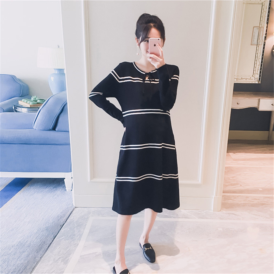 2017 Maternity Dress Elegant Maternity Clothes For Pregnant Women Winter Spring Black Pregnancy Clothing Hamile Elbisesi 70R0176