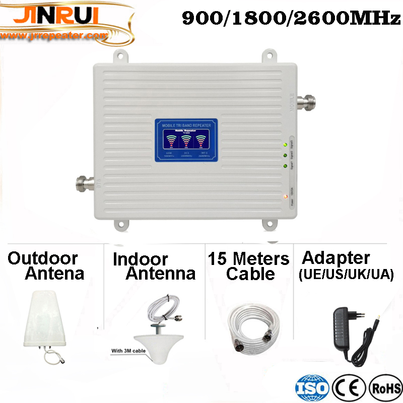 2G 3G 4G Triple Band Mobile Signal Repeater GSM 900 DCS LTE 1800 FDD LTE 2600