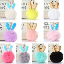 Bunny Ear Keychain Rabbit Ear Key Chains Soft Fluffy Fur Charms Keyring Pom Pom Car Bag Pendant Woman Child Gifts Jewelry(China)